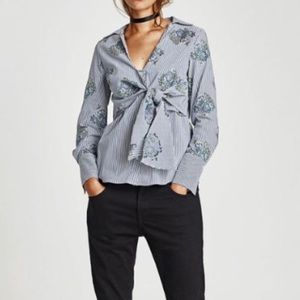 Zara Floral Embroidered Tie Front Blouse